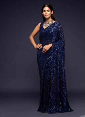 Wedding Embroidery Saree With Designer Blouse In Navy Blue