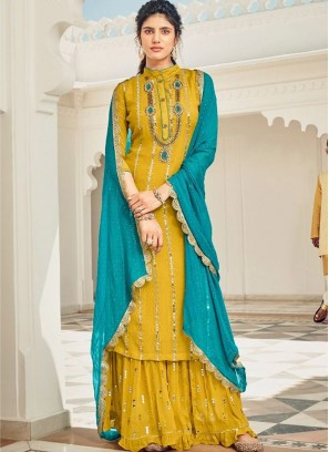 Wedding Haldi Ceremony Salwar Suit With Palazzo In Yellow