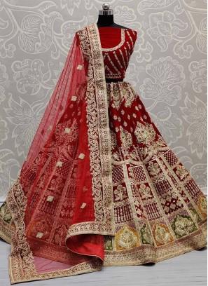 Wedding Lehenga Choli In Velvet Crafted In Various Types Of Work In Red