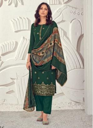 Wedding Mehandi Ceremony Pant Style Salwar Suit In Green