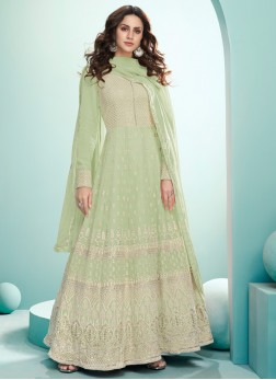 Wedding Multi Thread Embroidered Gown In Pista