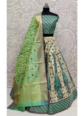 Wedding Propitious Bridal Green Banarasi Silk Lehenga Choli