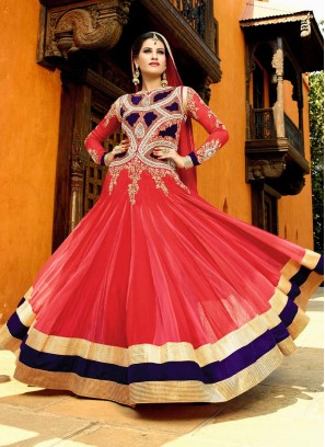 Wedding Style Floor Length Embroidery Work Gown In Rose Pink