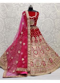 Wedding Thread Embroidery Lehenga Choli In Pink