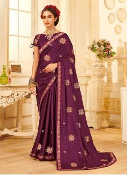 Wedding Thread Embroidery Silk Saree In Purple