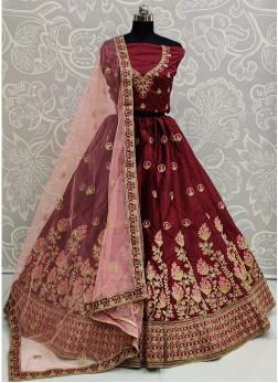 Wedding Trendy Look Embroidery Work Silk On Lehenga Choli In Maroon