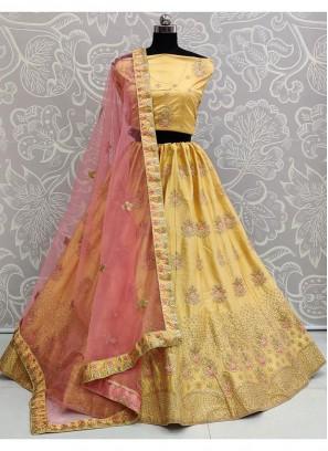 Wedding Wear Amazing Thread & Dori Work On Lehenga Choli In Cream