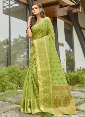 Wedding Wear Embellished Banarasi Silk Saree In Firozi