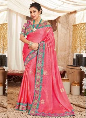 wedding wear Embroidery Work Silk Saree In Pink