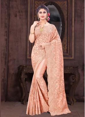 Wedding Wear Likeable Designer Work On Saree In Peach