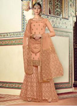 Wedding Wear Likeable Embroidery Work On Net In Cream