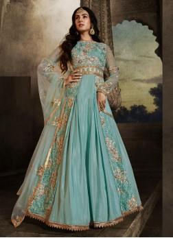 Wedding Wear Wondrous Embroidery Work On Net In Aqua Blue