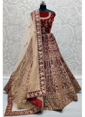 Well-Favored Maroon Designer work heavy bridal Lehenga Choli