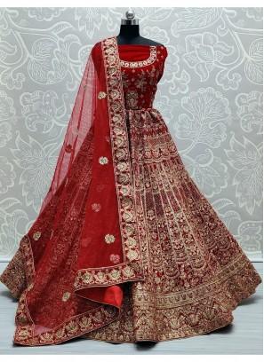 Well-Favored Red Designer work heavy bridal Lehenga Choli