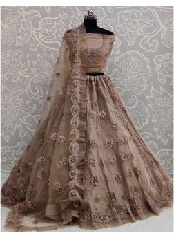 Wheat Net Wedding Designer Lehenga Choli with Dupa