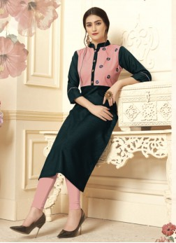 Whimsical Embroidered Cotton Navy Blue Party Wear Kurti