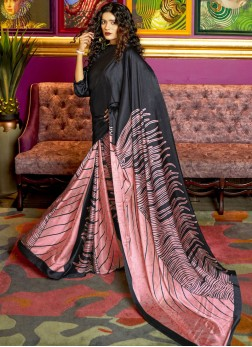 Whimsical Faux Crepe Abstract Print Multi Colour Printed Saree
