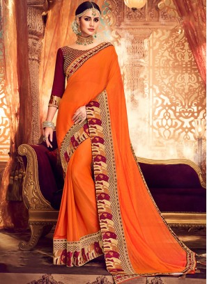 Whimsical Resham Orange Classic Saree