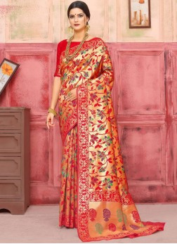 Whimsical Weaving Art Silk Designer Traditional Saree