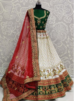White and Green Designer Panetar Lehenga Choli