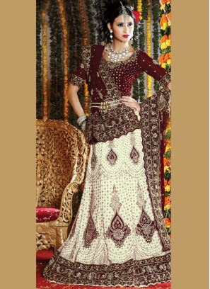 White Fancy Wedding Handwork Lehenga Choli