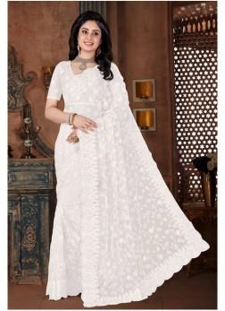 White Net Wedding Bollywood Saree