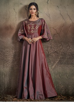 Wine Art Silk Readymade Designer Gown