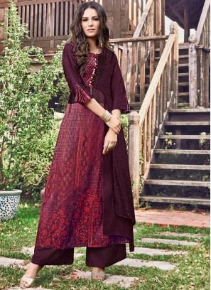 Wine Print Fancy Fabric Party Wear Kurti