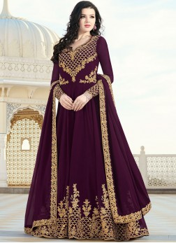 Winsome Faux Georgette Wine Floor Length Anarkali Suit