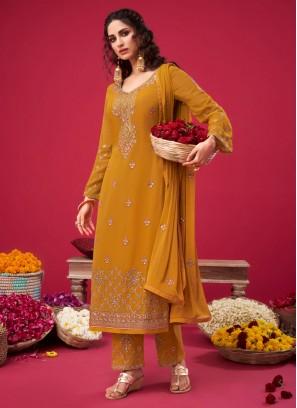 Wonderful Designer Thread Work On Salwar Suit In Mustard
