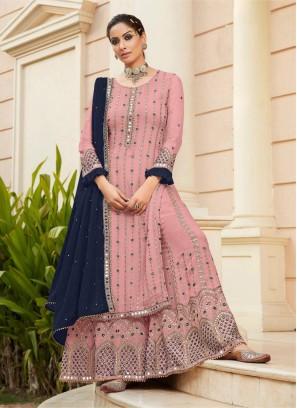 Wonderful Mirror Work Wedding Wear Salwar Suit In Pink - Blue