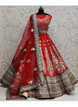 Wonderful Wedding Wear Dori & Gotta Pati Work On Lehenga Choli In Red