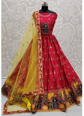 Wonderfully Bottom Designed Crimson Wedding Lehenga Choli