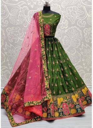 Wonderfully Bottom Designed Green Wedding Lehenga Choli