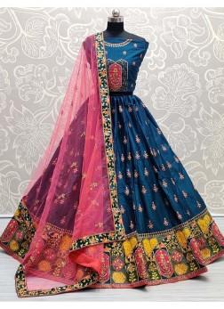 Wonderfully Bottom Designed Teal Wedding Lehenga Choli