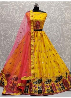 Wonderfully Bottom Designed Yellow Wedding Lehenga Choli
