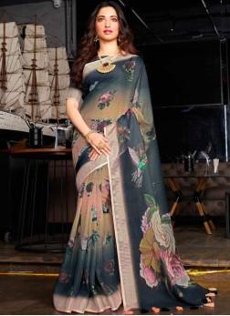 Wonderous Abstract Print Multi Colour Tamannaah Bhatia Printed Saree