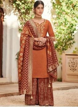 Wonderous Embroidered Orange Designer Pakistani Suit