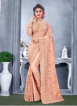Wondrous Resham & Embroidery Work On Saree In Peach