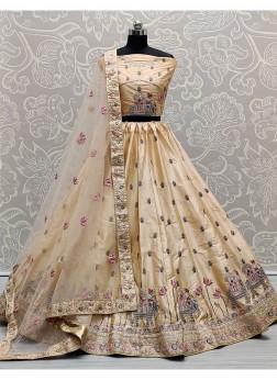 Wondrous Wheat Colour Sober and Embroidery Work Wedding Wear Lehenga Choli