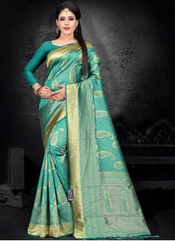 Woven Art Silk Designer Saree in Green