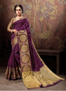 Woven Cotton Silk Designer Traditional Saree in Purple