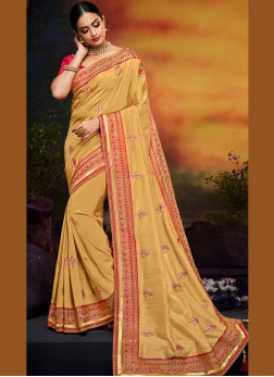 Yellow Art Silk Traditional Designer Saree