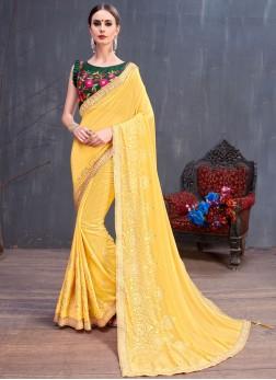 Yellow Color Designer Saree