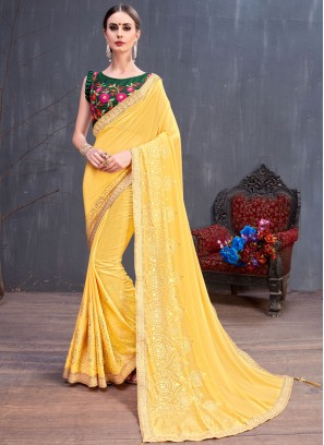 Yellow Color Designer Saree