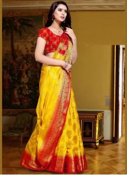 Yellow Color Traditional Designer Saree