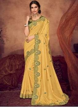 Yellow Embroidered Mehndi Designer Saree