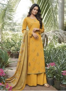 Yellow Faux Crepe Ceremonial Designer Pakistani Suit