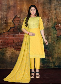 Yellow Lace Art Silk Designer Salwar Kameez