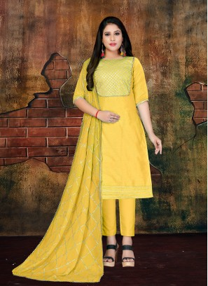 Yellow Lace Art Silk Designer Salwar Kameez